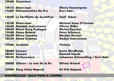 SynthFest 2018 - Programme dimanche